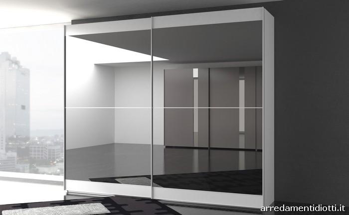 Armadio scorrevole stripe con anta con inserto in pietra diotti a f arredamenti - Specchio estraibile da armadio ...
