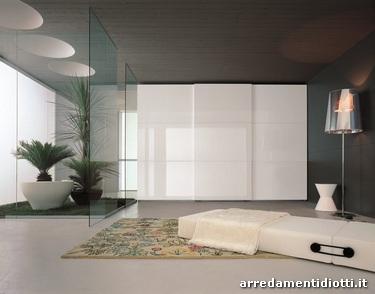 Tecno armadio scorrevole bianco lucido