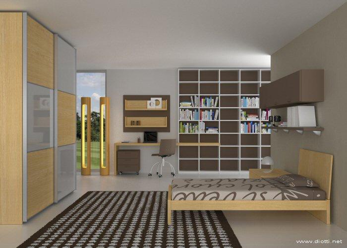 Una bella vista d'insieme con armadio, libreria, scrivania, letto e comodino coordinati.