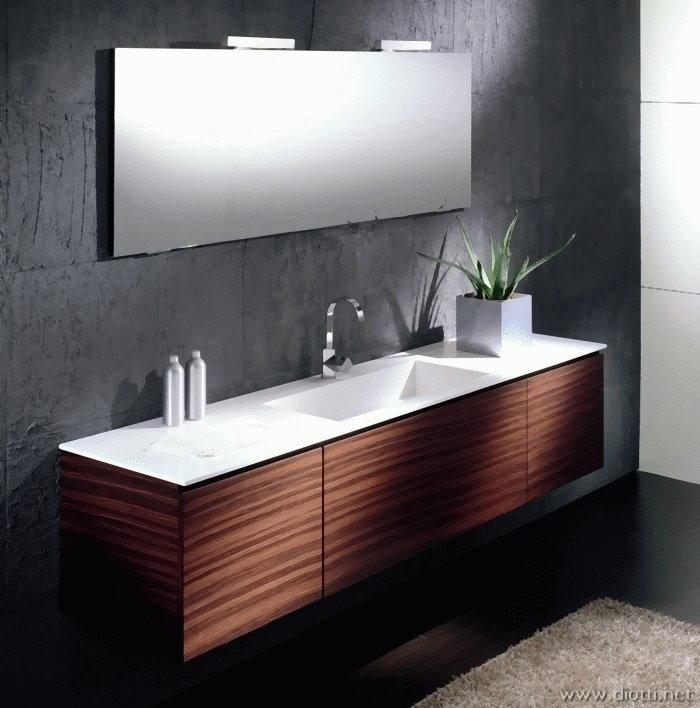 Arredobagno in palissandro con lavabo in marmo cardoso - Arredo bagno marmo ...