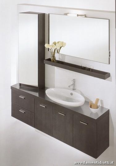 Bagno shangai in rovere grigio sospeso diotti a f - Vetrinette da bagno ...