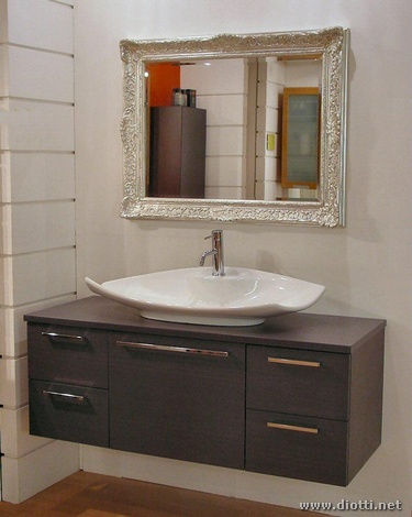 Specchio Con Cornice Bagno.Grey Oak Bathroom Furniture With Silver Mirror Frame Diotti A F