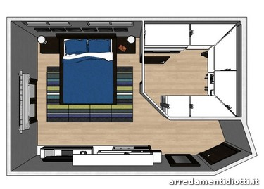 Camera arco rovere moro e cabina armadio raster diotti a f arredamenti - Camera da letto con cabina armadio e bagno ...