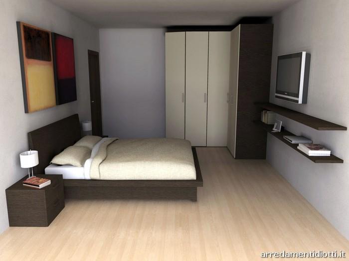 Gruppo letto quadras meta in rovere moro diotti a f - Camera da letto minimal ...