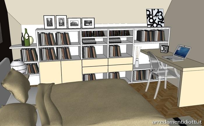 Camera a mansarda con libreria logo e armadio mega - Angolo studio in camera da letto ...