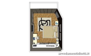 Camera a mansarda con libreria logo e armadio mega for Letto logo