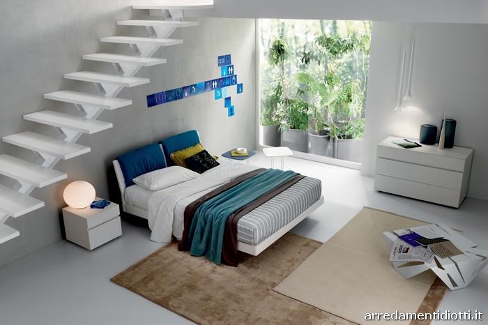 Letto in legno con cuscini in testata modello link - Spalliera letto con cuscini ...