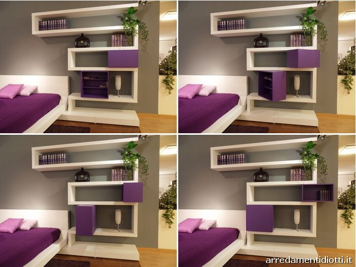 awesome wall mounted cubby storage contemporary bedroom | Quarantacinque - DIOTTI A&F Italian Furniture and Interior ...