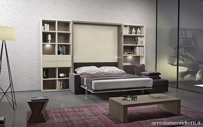 Sistema caratterizzato dalla possibilit di avere un divano che scompare sotto ad un vero letto - Camere con letto a scomparsa ...