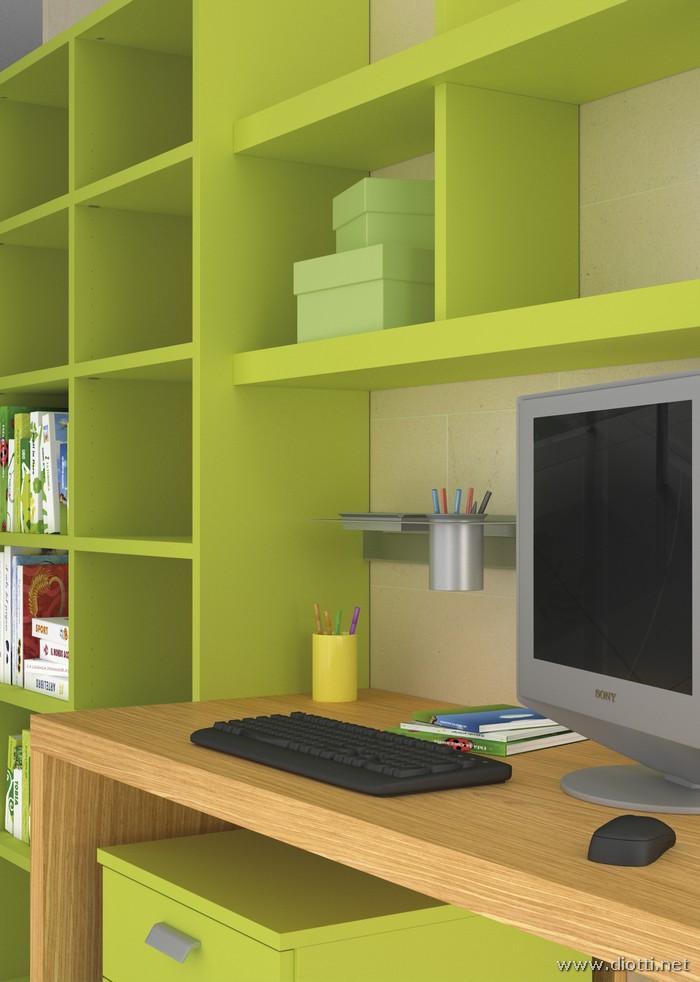 Young-libreria-laccato-verde-scrittoio-rovere-big