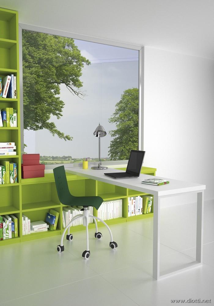 Young-scrittoio-appoggio-libreria-laccato-bianco-verde-big