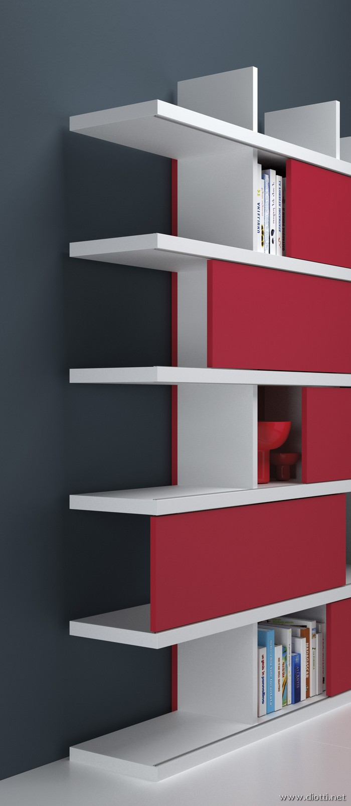 Young-libreria-laccato-bianco-rosso-big