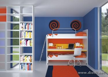 Young-cameretta-generale-soppalco-libreria-bianco-arancio-half
