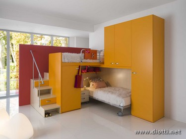 Seipersei perpendicular bunk beds kids room yellow