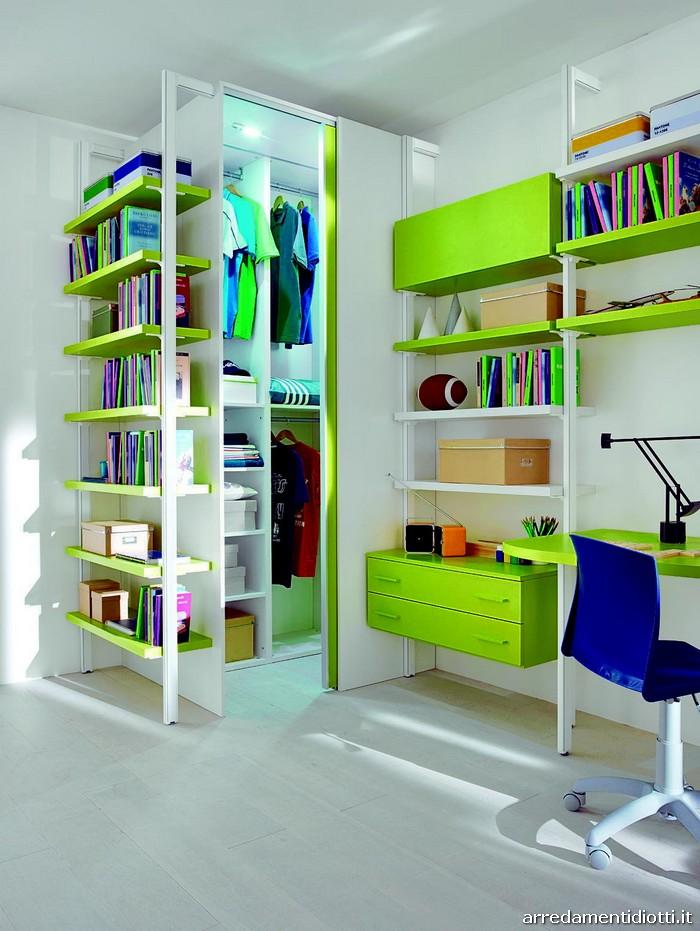 Seipersei cameretta con libreria in alluminio diotti a f arredamenti - Strutture per cabina armadio ...