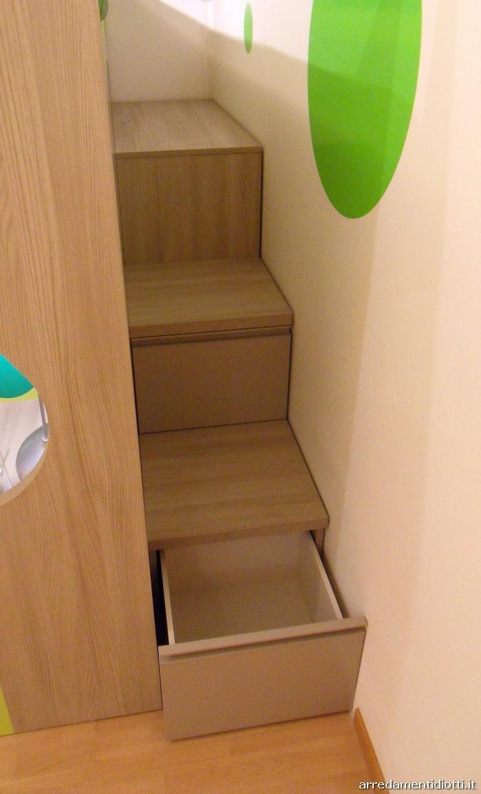 Ulteriore spazio viene risparmiato grazie ai contenitori presenti nella scaletta: una pedana apribile e due cassetti