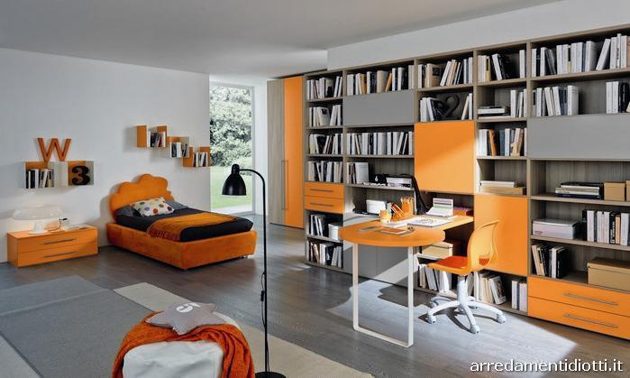 Cameretta Arancione E Blu : Progetti di camerette per ragazzi con letti a una piazza e mezza