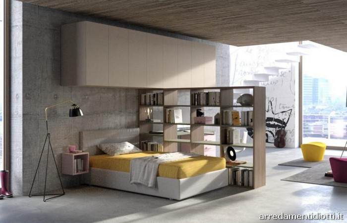 Progetti di camerette per ragazzi con letti a una piazza e mezza librerie anche bifacciali e - Camerette con letto una piazza e mezza ...