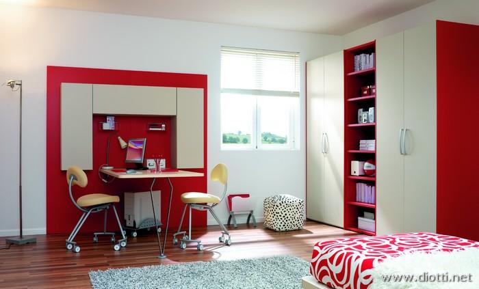 Cameretta start in olmo con scrivania diotti a f arredamenti for Acero rosso milano