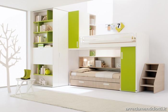 Soluzioni con letto castelponte lo scorrimento del letto permette l 39 accesso alla scaletta e - Camerette verde mela ...