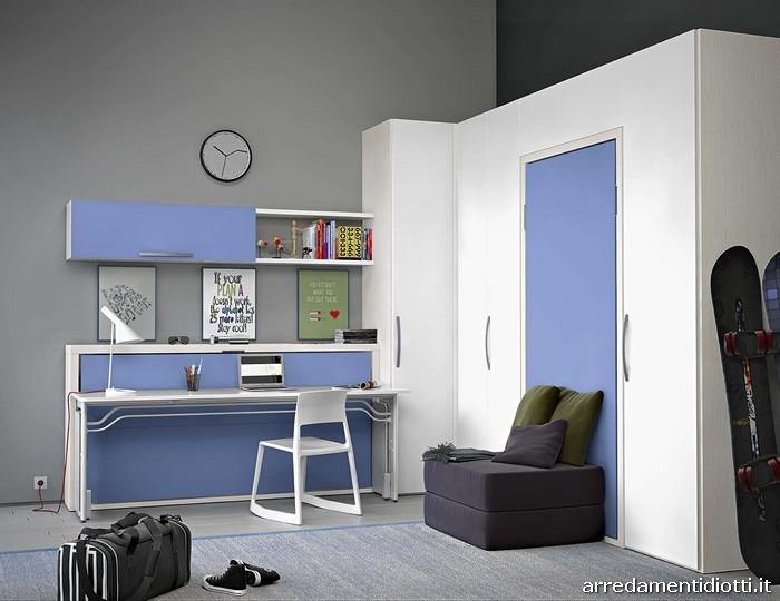 Cameretta Start in Motion con letto ribaltabile e scrivania integrata - DIOTTI A&F Arredamenti