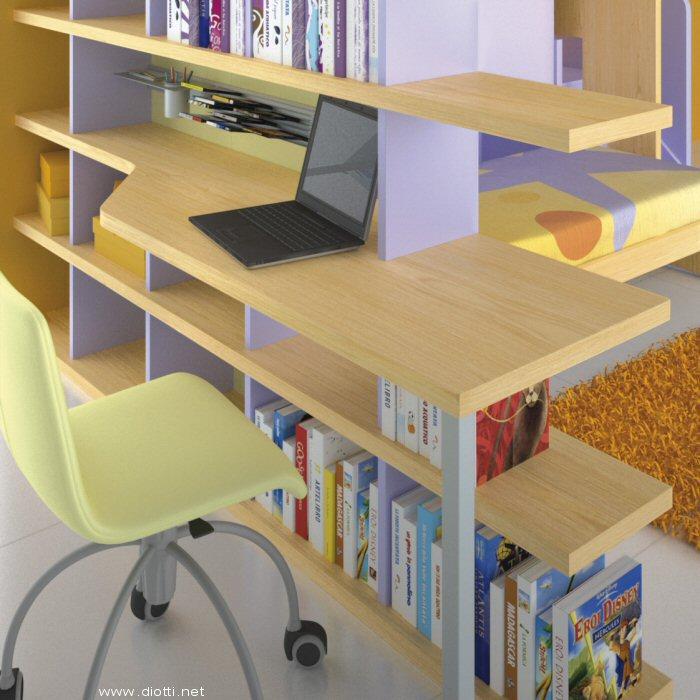 Libreria bifacciale con scrittoio sagomato integrato.