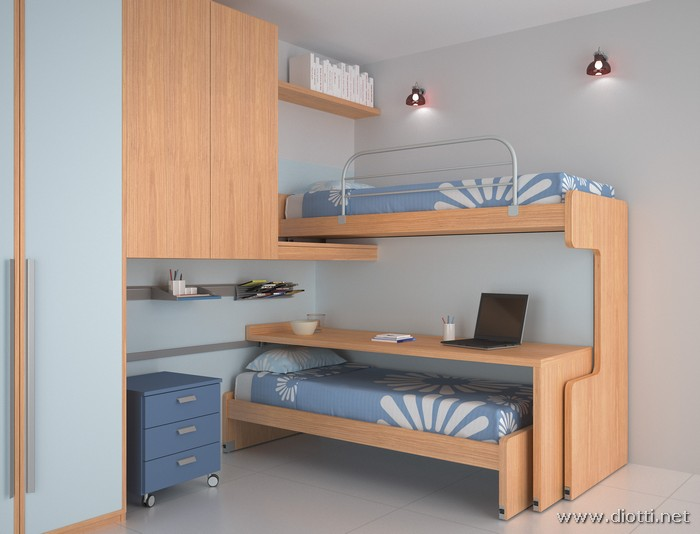 Young sliding bunk bed - DIOTTI A&F Italian Furniture and Interior Design