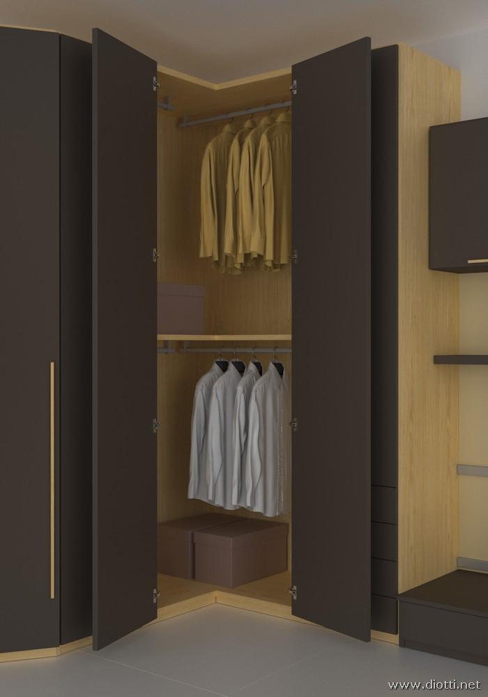 L'armadio angolare offre alla cameretta una zona spogliatoio ed appenderia.