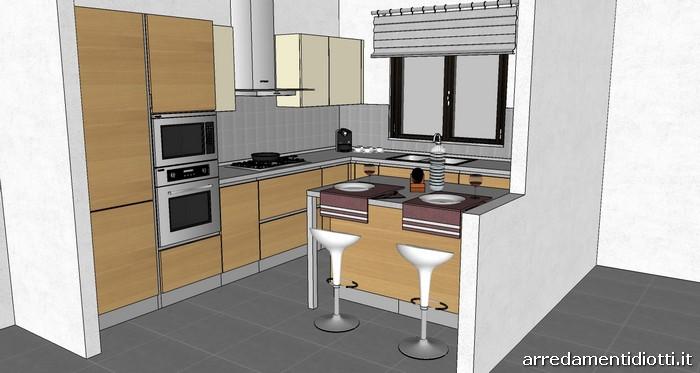 Cucina horizon polimerico noce diotti a f arredamenti for Piccole cucine con isola