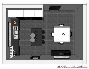 Cucina system in vetro dogato diotti a f arredamenti - Pianta di una cucina ...