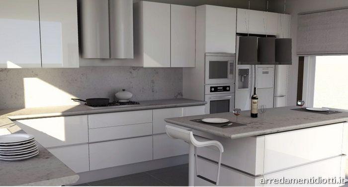 Cucina con gola laccata bianca idea diotti a f arredamenti - Cucina moderna bianca e grigia ...