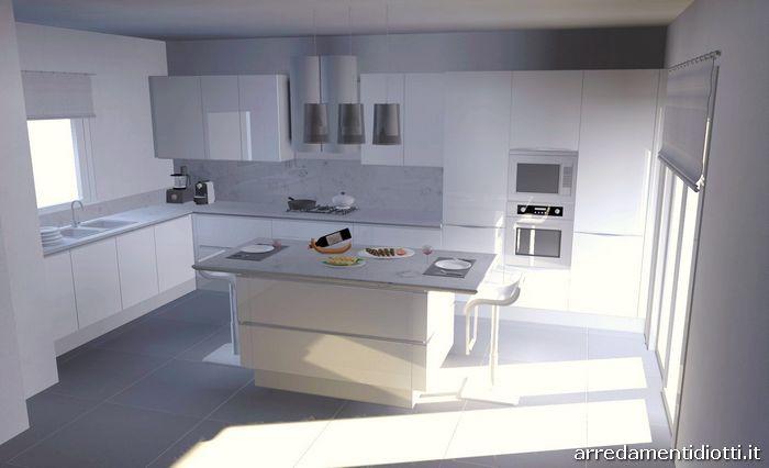 Cucina con gola laccata bianca idea diotti a f arredamenti - Cucina tutta bianca ...