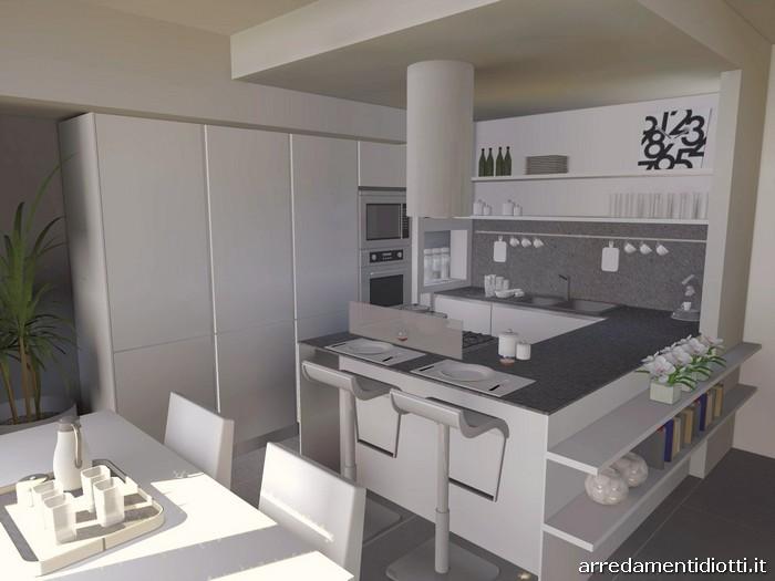 Cucine Con Angolo Cabina.Cucina Angolare Con Penisola Moderna Dream Diotti A F Arredamenti