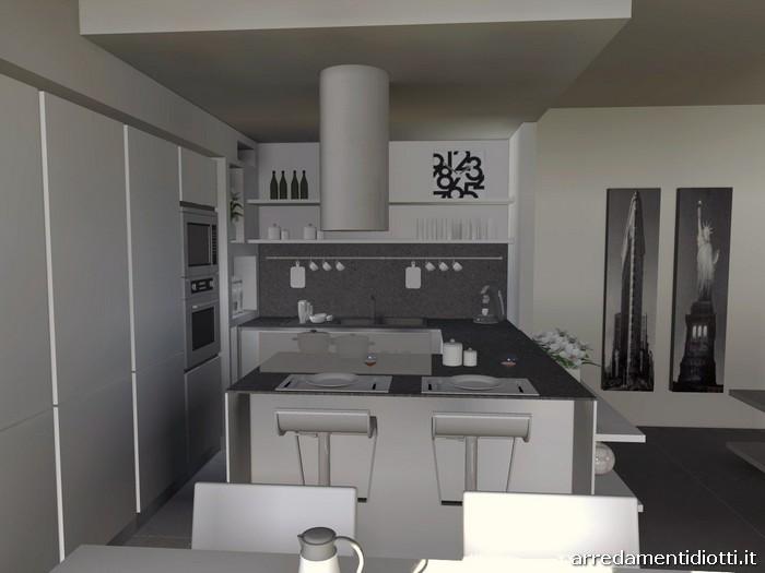 Cucina angolare con penisola moderna dream diotti a f - Mensole cucina moderna ...