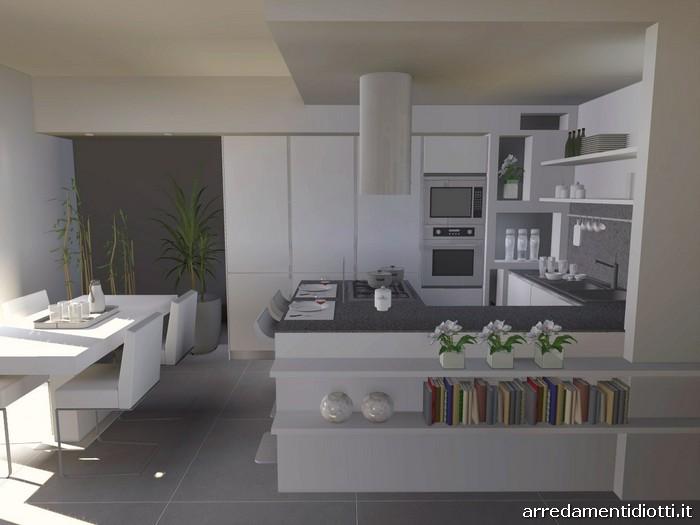 cucina bianca e grigia arredare cucina : Cucina angolare con penisola moderna Dream - DIOTTI A&F Arredamenti