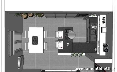 Cucina angolare con penisola moderna dream diotti a f for Casa moderna pianta
