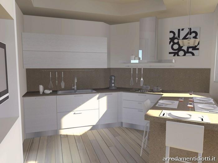Cucina angolare con penisola moderna sfera diotti a f arredamenti - Cucina angolare con penisola ...