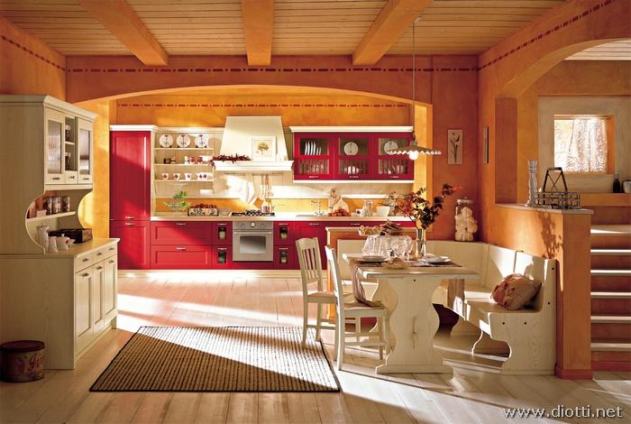 Cucina country classica asolo diotti a f arredamenti - Open space cucina soggiorno classico ...