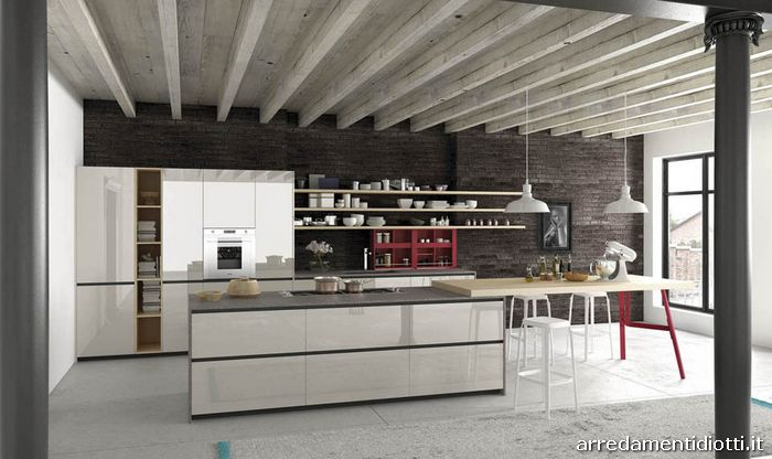 Cucina moderna con ante in vetro reef diotti a f arredamenti for Marano arredamenti