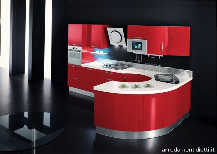 Cucina Moderna Rossa Con Isola Centrale Interior Design: Cucina nuovi ...