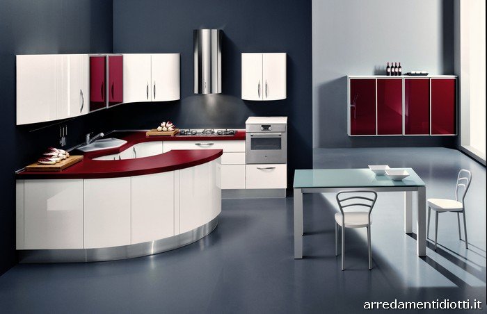 Geosfera Round Kitchen With Curved Peninsula Diotti A F Italian Furniture And Interior Design