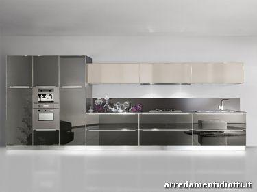 Cucina system in vetro liscio diotti a f arredamenti - Cucine moderne grigie ...