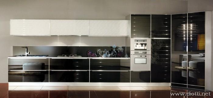 Cucina system in vetro dogato o liscio diotti a f arredamenti - Cucine moderne con dispensa ...