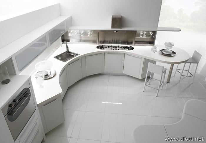 Cucina angolare con basi sagomate diotti a f arredamenti - Arredamenti moderni casa ...