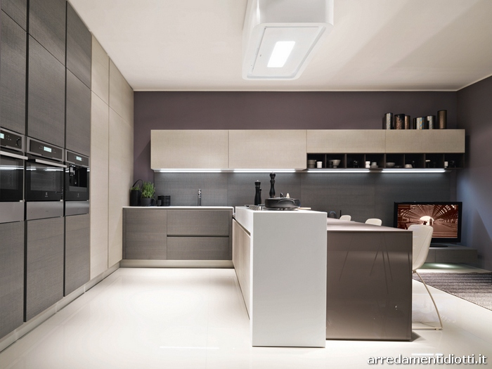 Cucina laccata bianca diotti a f arredamenti - Cucina rovere bianco ...