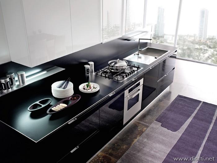 Emejing cucine nere moderne pictures - Cucine nere lucide ...