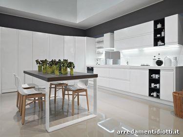 Zerocinque cucina maniglia pantografata diotti a f arredamenti - Cucina moderna bianca ...