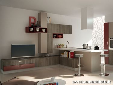 Cucina moderna componibile in melaminico spring diotti a - Cucina bordeaux ...