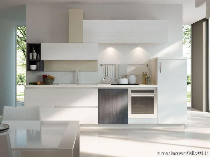Cucina moderna componibile in melaminico spring diotti a - Cucine componibili bianche ...