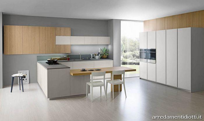 cucina logica moderna lineare con gola - diotti a&f arredamenti - Cucina Rovere Naturale